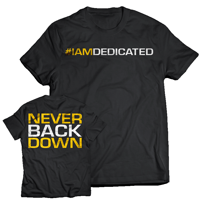 Dedicated Never down T-shirt Large GIFT